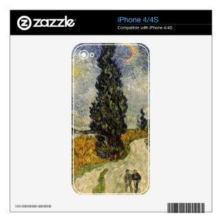 Camino con los cipreses, 1890 de Vincent van Gogh Skins Para eliPhone 4S