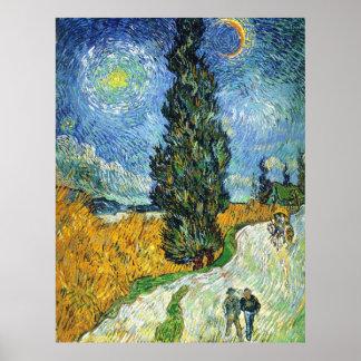 Camino con los cipreses (Van Gogh) Póster