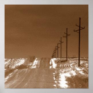Camino de campo rural en el invierno sepia impresiones