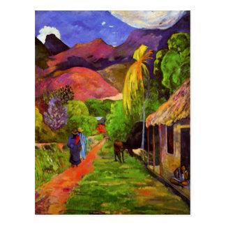 Camino de Gauguin en la postal de Tahití
