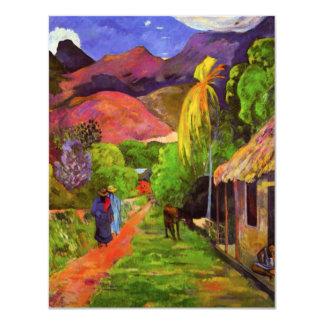 Camino de Gauguin en las invitaciones de Tahití Invitación 10,8 X 13,9 Cm