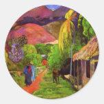 Camino de Gauguin en los pegatinas de Tahití Pegatina Redonda