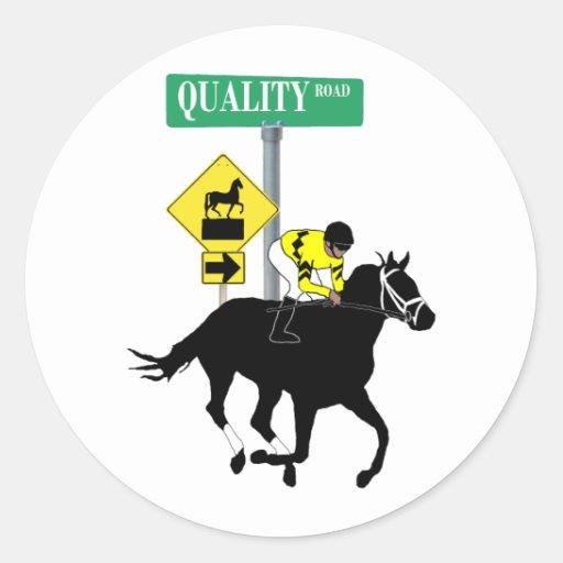 Camino de la calidad etiqueta redonda