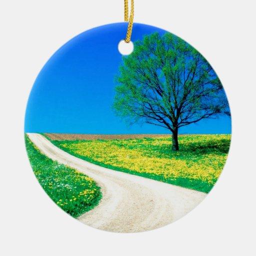 Camino de la primavera de las flores de los adorno navideño redondo de cerámica