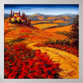 Camino de la primavera de Toscana al chalet Poster