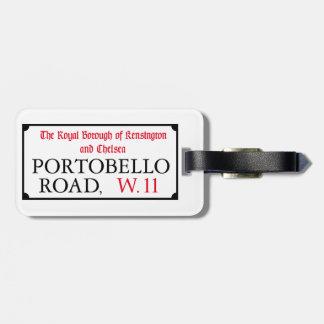 Camino de Portobello, placa de calle de Londres Etiquetas Bolsa