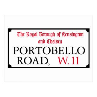 Camino de Portobello, placa de calle de Londres Tarjeta Postal