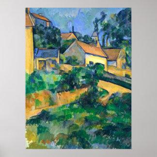 Camino de torneado en Montgeroult de Paul Cezanne Póster