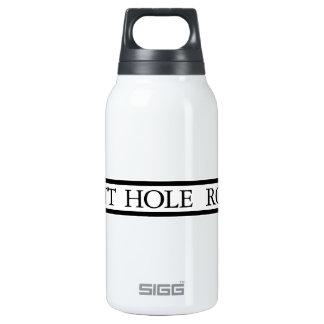 Camino del agujero del extremo, placa de calle, botella isotérmica de agua