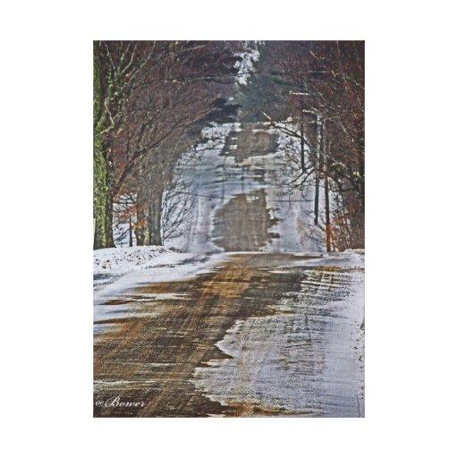 camino del invierno lienzo envuelto para galerias