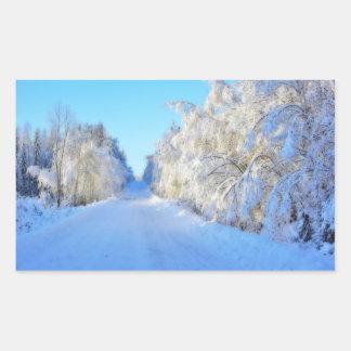 Camino del invierno pegatina rectangular
