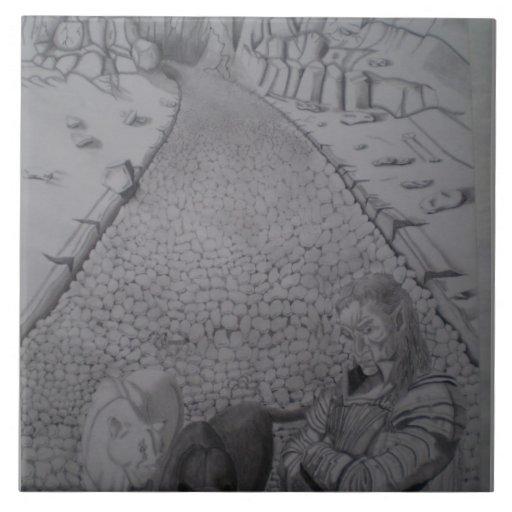 Camino del ladrillo azulejo cuadrado grande