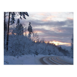Camino del país de las maravillas del invierno tarjetas postales