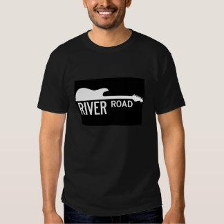 Camino del río - logotipo grande negro playeras