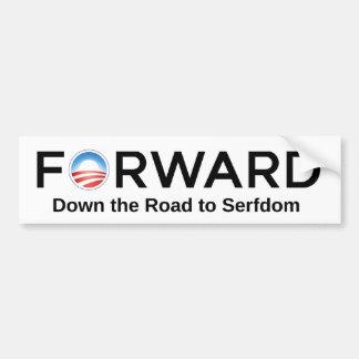 Camino delantero de Obama al Serfdom Pegatina Para Auto
