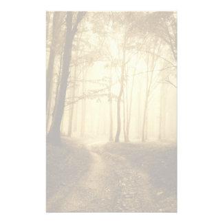 Camino en un bosque oscuro con niebla papeleria