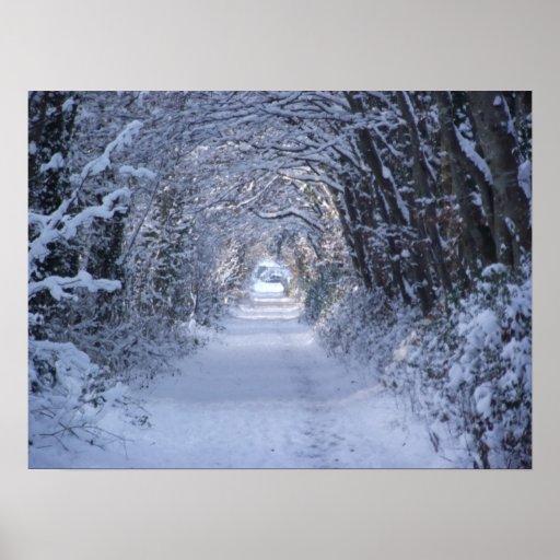 Camino enselvado del invierno impresiones