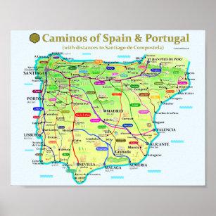 Camino Map Poster