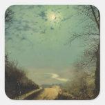 Camino mojado por el claro de luna, Wharfedale de  Calcomania Cuadradas Personalizadas