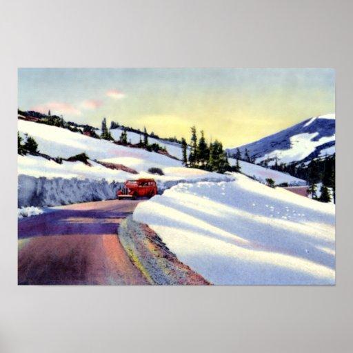 Camino nevado de Denver Colorado Poster