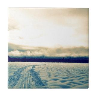 camino nevoso azulejo cuadrado pequeño