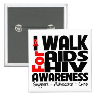 Camino para la conciencia del VIH del SIDA Pin Cuadrado