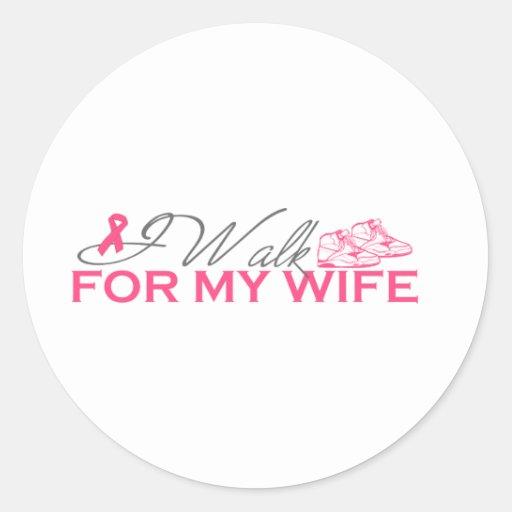 Camino para mi esposa (la cinta rosada) pegatina redonda
