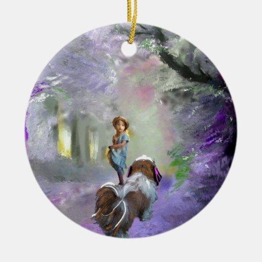 Camino púrpura adorno navideño redondo de cerámica