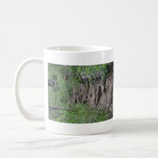 Camino rocoso en bosque taza básica blanca