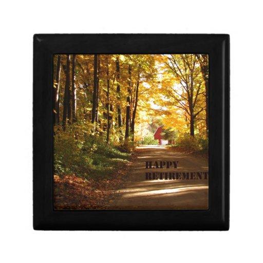 Camino rojo del otoño del granero del retiro feliz cajas de joyas