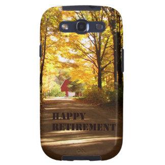 Camino rojo del otoño del granero del retiro feliz galaxy s3 protectores