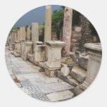 Camino romano antiguo en la ciudad de Ephesus, Pegatina Redonda