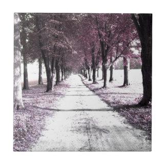 camino rosado de Forrest Gump Azulejo Cuadrado Pequeño