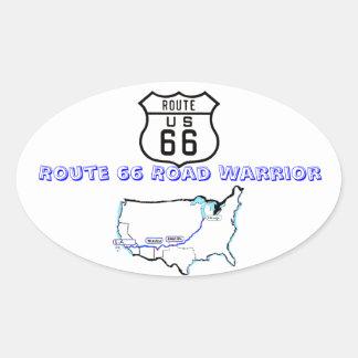 Camino Warrier de la ruta 66 Pegatina Ovalada