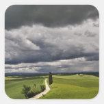 Camino y nubes de tormenta, región rural de calcomanía cuadrada