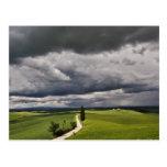 Camino y nubes de tormenta, región rural de Toscan Postal