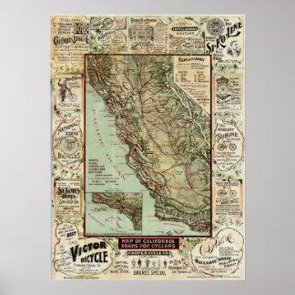 """""""Caminos de California para los ciclistas"""" (1896) Póster"""