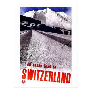 Caminos de Suiza del vintage Tarjeta Postal