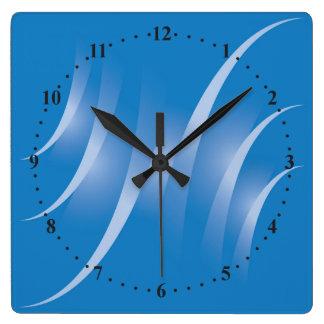 caminos en azul reloj cuadrado