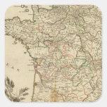 Caminos postales de Francia Calcomanías Cuadradases