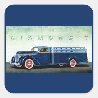 Camión 1937 del azul del diamante T Pegatina Cuadrada