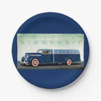 Camión 1937 del azul del diamante T Plato De Papel De 7 Pulgadas