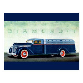 Camión 1937 del azul del diamante T Postal