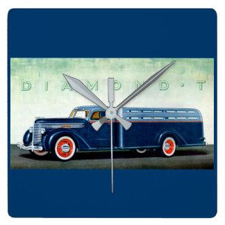 Camión 1937 del azul del diamante T Reloj Cuadrado