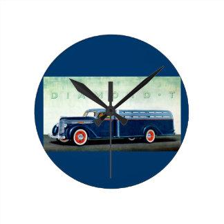 Camión 1937 del azul del diamante T Reloj Redondo Mediano