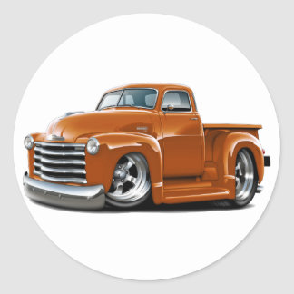 Camión 1950-52 del naranja de Chevy Pegatinas Redondas