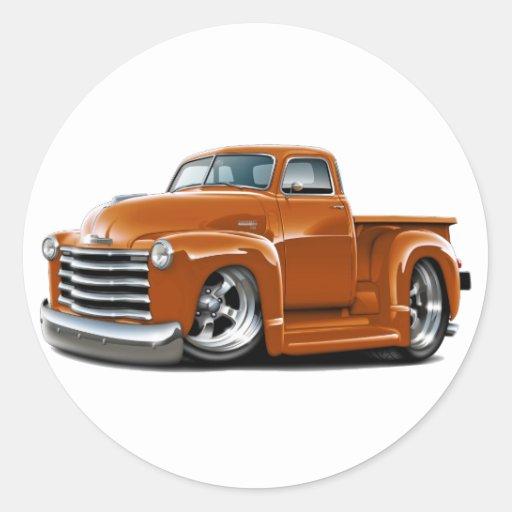 Camión 1950-52 del naranja de Chevy Pegatina Redonda