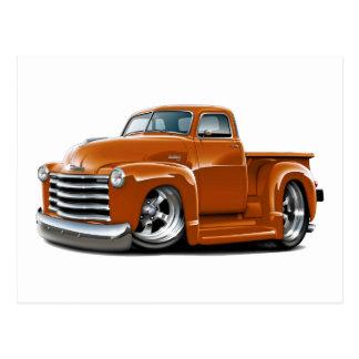 Camión 1950-52 del naranja de Chevy Tarjeta Postal