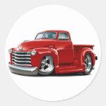 Camión 1950-52 del rojo de Chevy Pegatinas Redondas