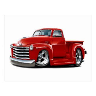 Camión 1950-52 del rojo de Chevy Tarjeta Postal